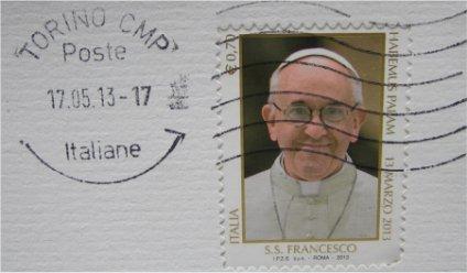 Il francobollo con immagine di Papa Francesco