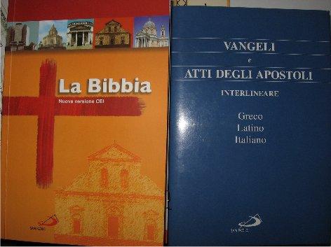 Bibbia Cei nuova versione e i Vangeli interlineare greco latino e italiano