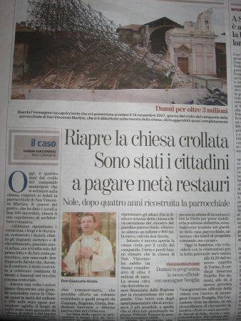 articolo su La Stampa sulla riapertura della chiesa crollata a Nole