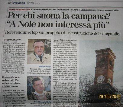 La Stampa - Articolo sul campanile di Nole del 29 maggio 2010
