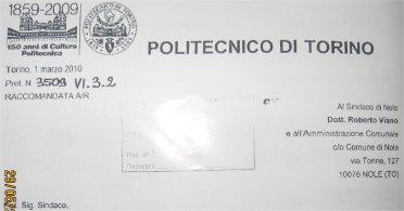 Stralcio della lettera del Politecnico di Torino sul campanile