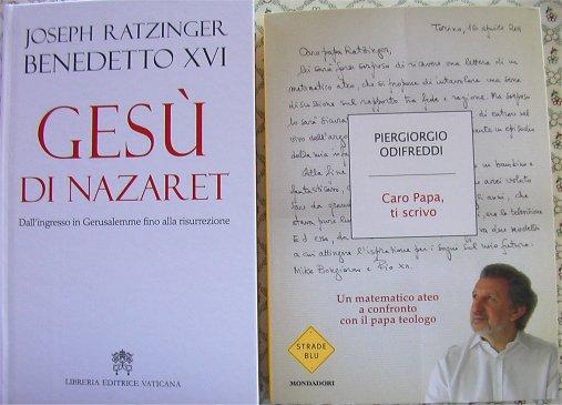 Copertine dei libri di Joseph Ratzinger e di Odifreddi